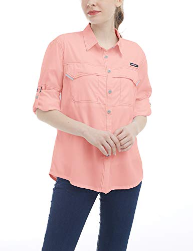 Hot Coral Apparel - Little Donkey Andy Women's UPF 50+ UV Protection Shirt, Long Sleeve Fishing Shirt, Breathable and Fast Dry Coral L
