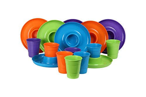 GreatPlate GP-GCP-TLOP-8x8AZ Teal Lime Green Orange Purple Mix Combo Pack, 2 Teal, 2 Lime Green, 2 Orange, 2 Purple GreatPlates, Food Tray and Beverage Holder, 2 Teal, 2 Lime Green, 2 Orange, 2 Purple GreatCups, Dishwasher Safe, Microwave Safe, Made in USA, Picnics, Parties, Tailgates, Appetizers, Great for Kids - Combo Mix