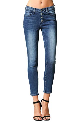 (Flying Monkey Sweetheart Exposed Button Up Fly Mid Rise Dark Wash Ankle Skinny Jeans Y2581 (28/7))