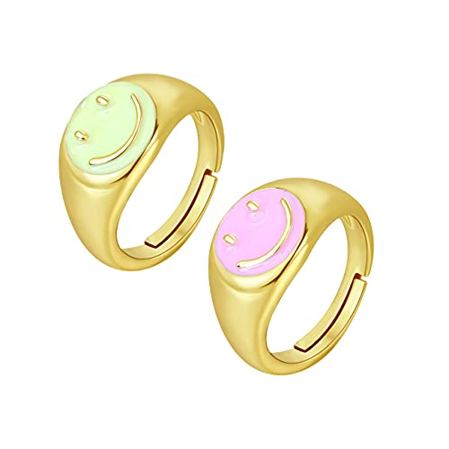 Buleens Butterfly Knuckle Rings Flower Stackable Ring Set Evil Eye Anillos Smiley Face Chunky Vintage 18K Gold Plated Snake Aesthetic Heart Clear Fun Moon Star Enamel Dainty Daisy Cute 90s Fashion