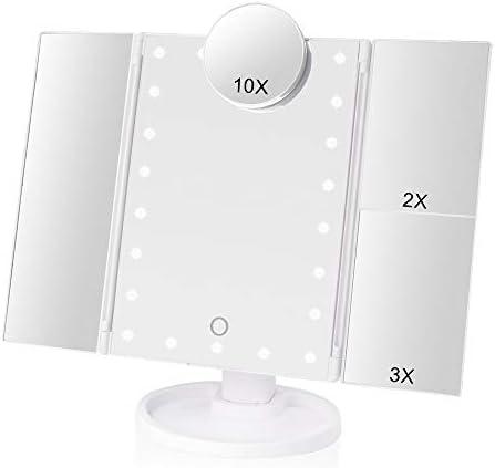 メイクアップライト1X2X3X10X倍率グラスポータブルタッチスクリーンのメイクアップミラーコンパクトミラー付き22 LEDバニ