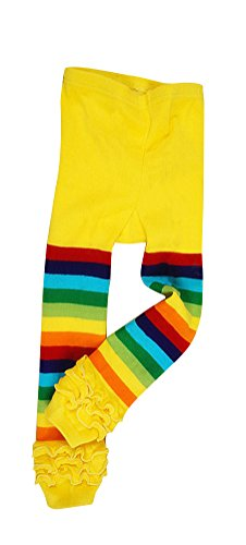Baby Girls' Rainbow Ruffle Toddler Knit Leggings Yellow, 4-5 Years