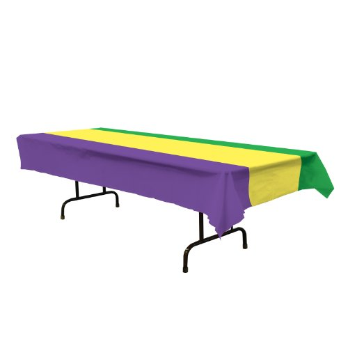 Mardi Gras Tablecover (golden-yellow, green, purple) Party Accessory  (1 count) (1/Pkg) 54' x 108'