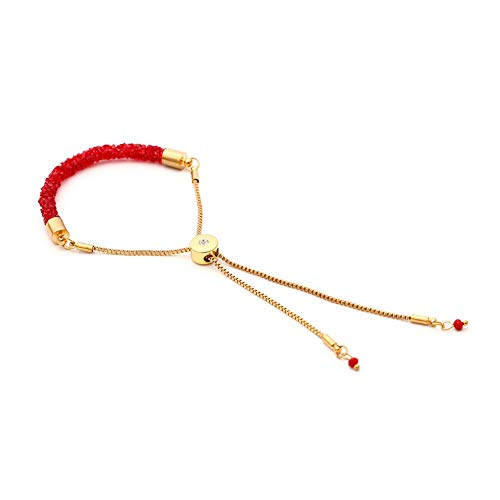 Bohemian Charm Crystal Bracelets Bangles Long Tassel Adjustable Bracelets For Women Fashion Jewelry Accessories(red)