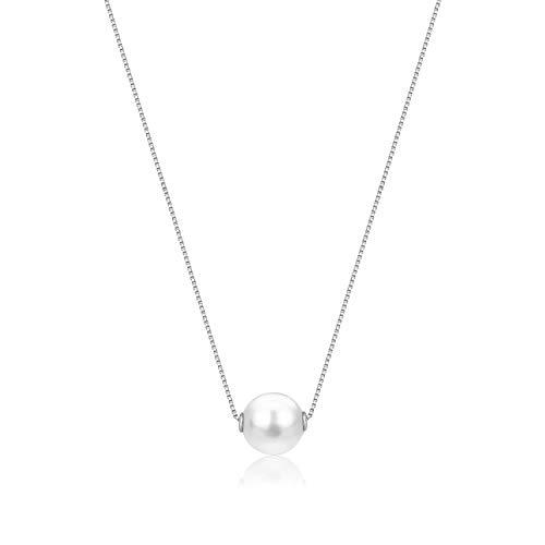 UNICORNJ 14K White Gold Necklace Pendant with Floating Freshwater Cultured Pearl 15.5