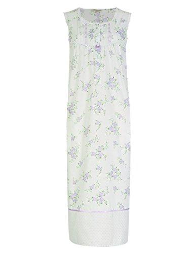 Mesdames Célèbre de poly/coton sans manches sexy. Apple/motif floral lilas. Tailles 8à 26