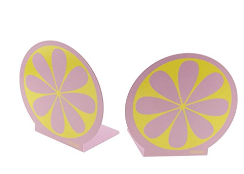 Brightly Painted Colorful Cute Lemon Nonslid Metal Kids Bookends Book Ends For Kids Home decoration (Pink)