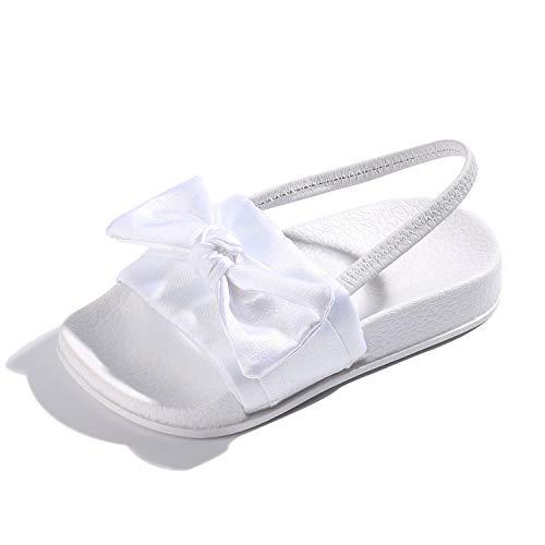 Satin Bow Sandals (FITORY Toddler Girls Sandals Slip On Bow Slides Little Kids Summer Shoes Size 2-10)