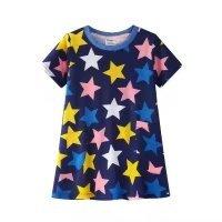 PRETCFTB Little Girl Unicorn Pajama Set Short Sleeve Stars Nightgowns Dark Blue Butterfly Dress Toddler Cotton Sleepwear 2-7T