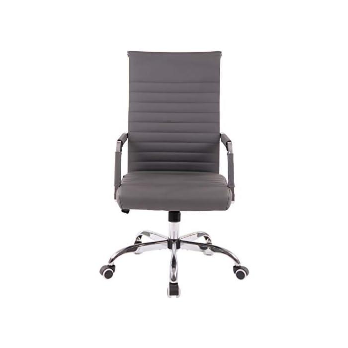 31vqtSDqHeL AJUSTABLE: La silla de oficina Amadora cuenta con un mecanismo de balanceo en el respaldo que se ajusta con el adaptador de rosca ubicado debajo del asiento, allí se encuentra también la manivela que permite ajustar la altura de la silla. El asiento puede dar un giro de 360° y gracias a las ruedas de su base permite a la unidad deslizarse por diversas superficies. MATERIALES: La estructura de la silla así como la base están hechas de metal en efecto óptico cromado brillante. La silla cuenta con un tapizado en cuero sintético (100% poliuretano), dicho material es resistente y fácil de limpiar. Las ruedas de la base son de polipropileno suave, que permite rodar con facilidad. DIMENSIONES: La silla ejecutiva tiene las siguientes medidas aproximadas: Alto: 96-106 cm I Ancho: 51 cm I Profundidad: 63 cm I Altura del asiento: 43 - 51 cm I Superficie del asiento (AxP): 46 x 49 cm I Altura del respaldo: 58 cm I Altura del reposabrazos: 19 cm I Capacidad máxima de carga: 120 kg I Peso: 11 kg.