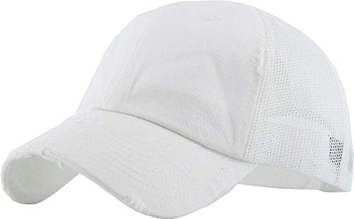 H-6140-K09 Distressed Low Profile Vintage Polo Style Trucker Dad Hat - White