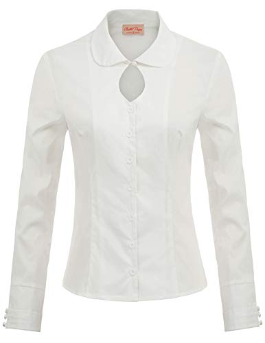 Women s Vintage White Shirts Long Sleeves Collar Blouse Top, White(Keyhole), Large