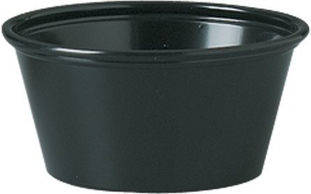 Solo Plastic Cups 1.5 oz Black Portion Container for Food, Beverages, Crafts (Pack of 250)