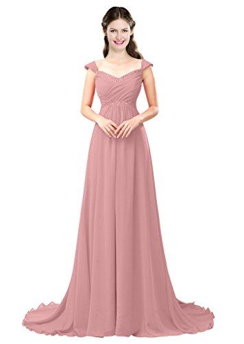 Prom Bridesmaid 2016 Long Blush Color Chiffon Women's A Beading line Dress e Dresses f4xR4qwZ6