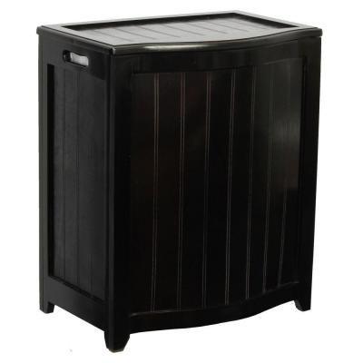 Dark Mahogany Wainscot Style Bowed Front Laundry Hamper by Oceanstar