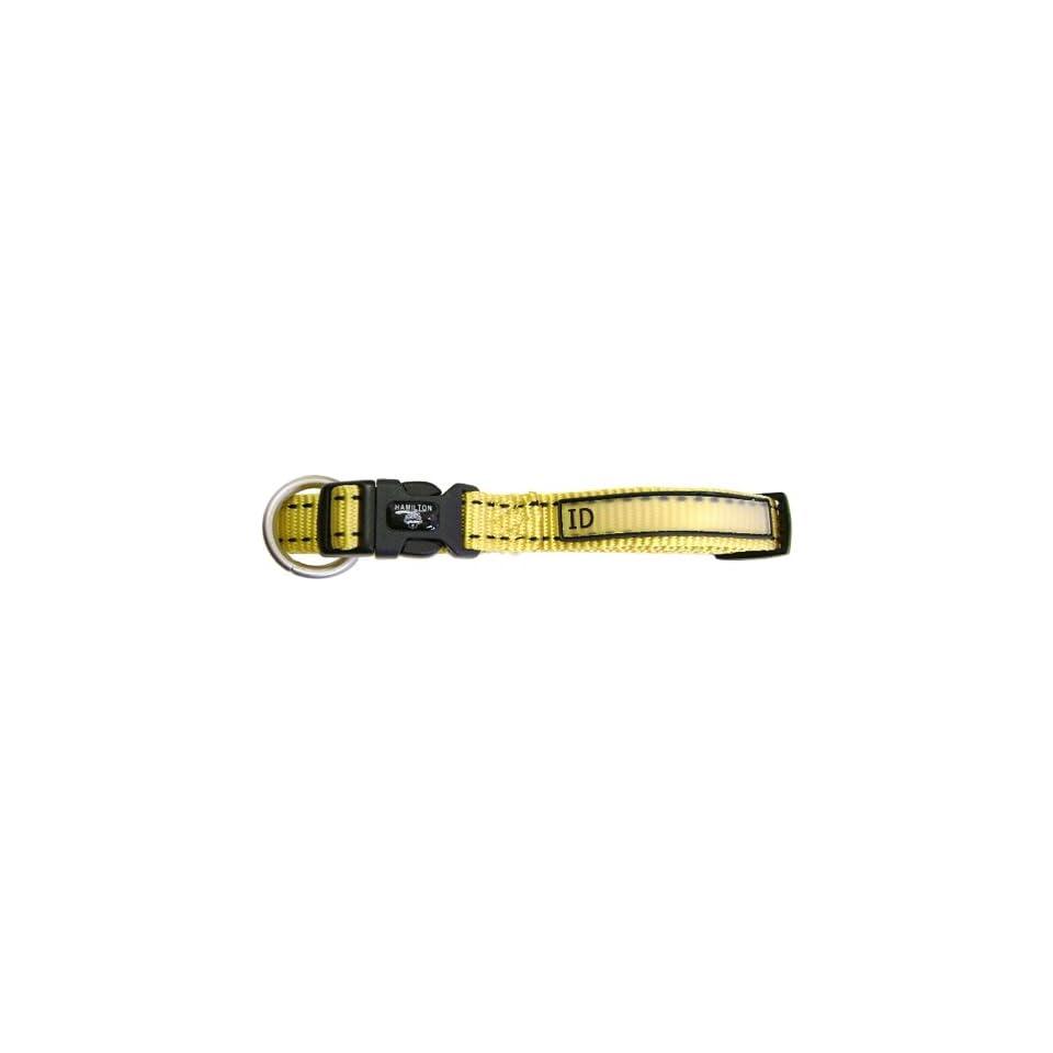 Hamilton 5/8 x 12 Single Thick Nylon Adjustable (12 inch to 18 inch) Pet Sport ID Dog Collar, Yellow