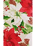 Christmas Holly, Poinsettias and Pine Cones Montage Vinyl Flannel Back Tablecloth (52' x 90' Oblong)