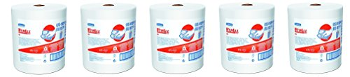 WypAll 41025 X80 Shop Towels, Jumbo Roll, 12 1/2w x 13.4l, White (5-(Pack)) by Wypall