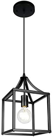 MIPAWS 1-Light Metal Black Pendant Light Farmhouse Cage Chandelier Industrial Hanging Lantern Fixture for Dinning Room Kitchen Island Bedroom Foyer