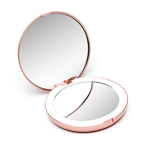 Fancii Compact Makeup Mirror with Natural LED Lights, 1x and 10x Magnification – Daylight LED, Portable Pocket Illuminated Mirror for Handbags and Travel Lumi Mini Rose Gold