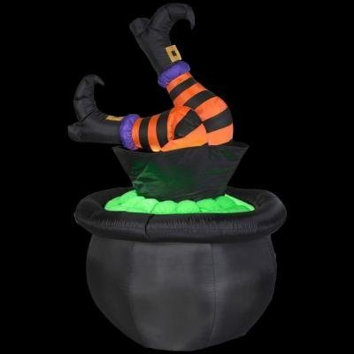 HALLOWEEN LAWN YARD GARDEN ANIMATED INFLATABLE AIRBLOWN WITCH LEGS IN CALDRON POT 57 TALL by HALLOWEEN INFLATABLES at The Neighborhood Corner Store