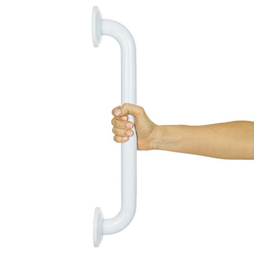 Vive Metal Grab Bar - Balance Handrail Shower Assist - Bathroom, Bathtub Mounted Safety Hand Support Rail - Stainless Steel Wall Mount for Handicap, Bath Handle, Elderly, Disabled, Injury (16 Inch)