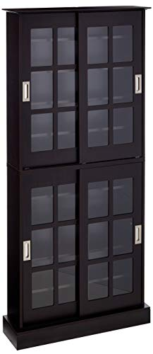 Atlantic Windowpane 720 Multimedia-Storage Cabinet- Stores 720 CDs, 288 DVDs,144 CDs or 348 Blu-Rays, 2 Tier with 8 Adjustable Shelves, 32X9.5X71.5 inches, PN in - Cabinet Dvd Walnut Storage