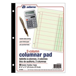 Three 50 Sheet Pads (Adams(R) Analysis Pad, 8 1/2in. x 11in., 100 Pages (50 Sheets), 2 Columns, Green)