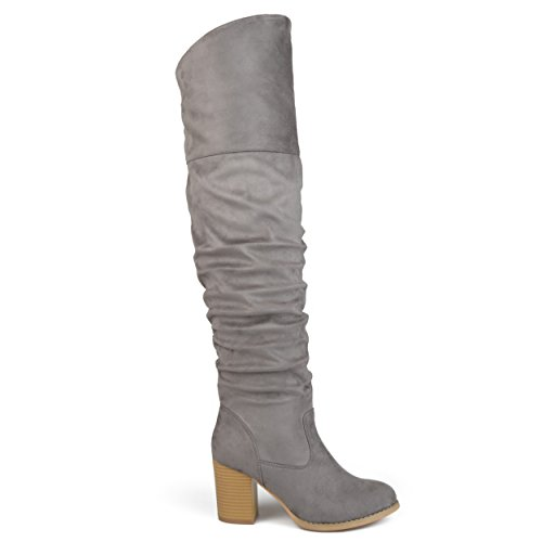 Brinley Co. Womens Regular Wide Kalb und Extra Wide Kalb Geraffte Stacked Heel Faux Wildleder Over-the-Knie Stiefel Grau