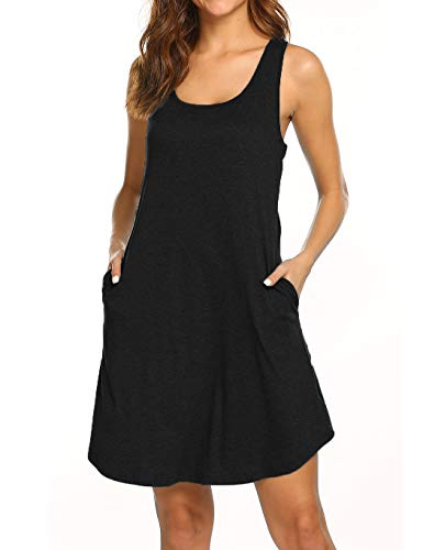 Womens Summer Dresses Beach Coverup Casual Sleeveless Racerback Tank Top Dress with Pockets Black M