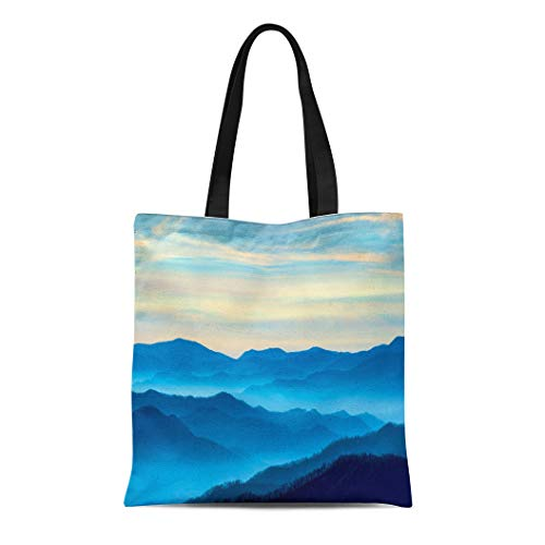 Semtomn Canvas Tote Bag View of the Smoky Mountains From Route 441In Newfound Durable Reusable Shopping Shoulder Grocery Bag -
