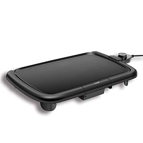 Caynel Professional Electric Griddle, Cool-Touch Griddle, Smoke-less Non-Stick Coating with Removable Drip Tray and Cool-touch Handles, Compact Storage, Upgrade Thermostat for Indoor Outdoor, Fully immersible Easy Cleaning, 16 x10 Family-Sized, Copper Black