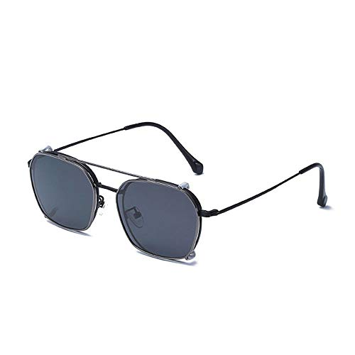 de Gafas Retro Doble Sol Gafas KOMNY Marco polarizadas Gafas Sol Frame de Oro Uso Black de Negro conducción de de Espejo AqZ71