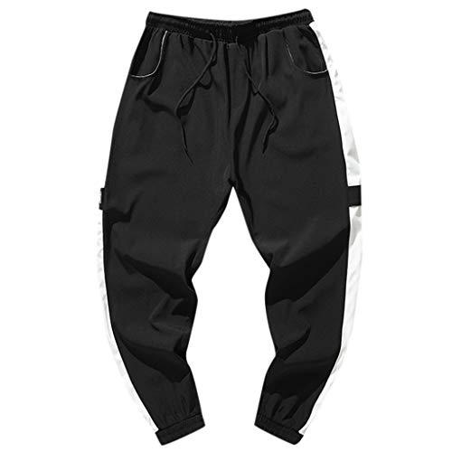 - KLGDA Mens Stitching Striped Hip Hop Sports Pants Nine Pants Casual Sweatpants Black