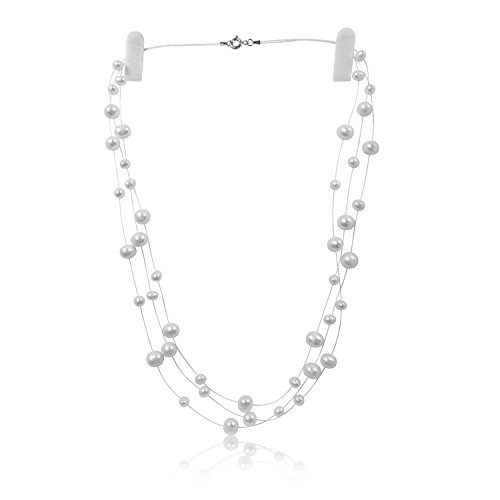 PearlsNSilver Sterling Silver Cultured Bridal White Pearl Illusion Necklace Earrings 18'' 20'' 3 or 6 Strand (3 strands 16'' - 18'') by Pearls N Silver
