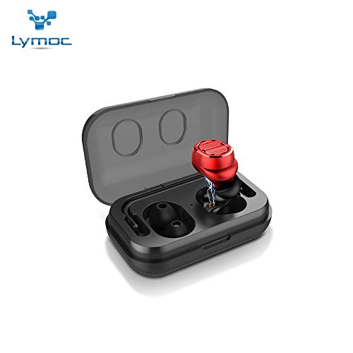 Portable Hands Free Stereo Earpiece - LYMOC Touch True Wireless Stereo Headsets Mini TWS 5.0 Earbuds Bluetooth Earphones Touch Control Auto Paired HiFi Stereo Portable Earpieces Nosice Cancelling with Mic Handsfree for Phone (Red)