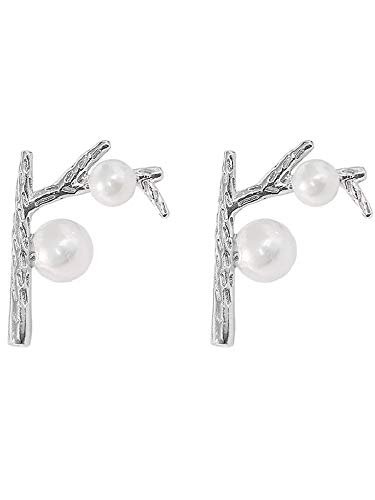 Eleganze925 Sterling Silver Cultured Freshwater Pearl Tree Branch Designer Pierced Post Drop Earrings Tree of Life Bridal Studs Earrings (White Pearl) Blooming Flower Drop Earrings