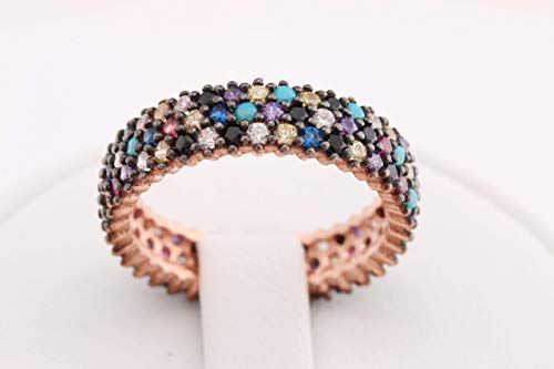 Special Design 3 Lines Multistone Turkish Handmade Jewelry Amethyst Pink Ruby Turquoise Sapphire Citrine Topaz Stone 925 Sterling Silver Band Ring All Size