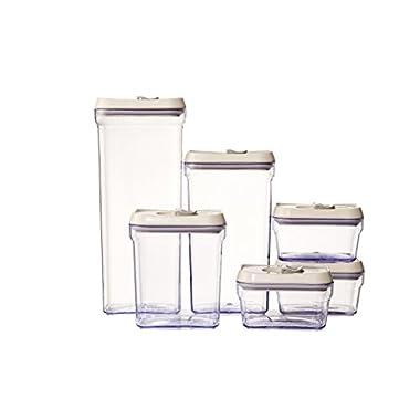 6 Pcs Plastic Storage Food Jar Organizer Storage Set by Juvale