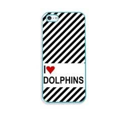 Love Heart Dolphins Aqua Silicon Bumper iPhone 5 & 5S Case - Fits iPhone 5 & 5S