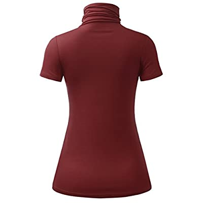 AMORE ALLFY Women's Lightweight Jersey Turtleneck Top at Women's Clothing store