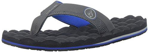 Volcom Men's Recliner Flip Flop Sandal Black (Blue Combo)