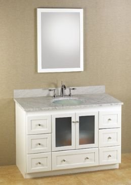 RONBOW ESSENTIALS Shaker 48 Inch Bathroom Vanity Cabinet Base In White  Finish, With Soft Close