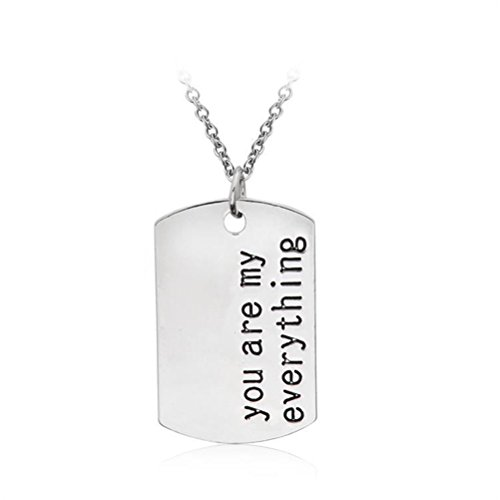 [Silver Tone Romantic Words Engraved Rectangle Plate Cahrm Pendant Necklace for Lover Couple (you are my] (Simple 3 People Costumes)