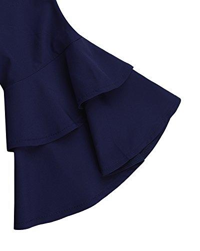 Large Marine Femme Dnudes Chemise Haut Tunique Shirt Tops Casual Lache Bleu Demi Manche Epaules StyleDome Sz6awxqa