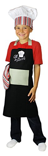 MU Kitchen Mini Kids 3 Piece Chef in Training Cotton Hat and Mitt Chef Set with Apron