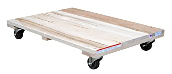 "Vestil HDOS-2436-9 Solid Deck Hardwood Dolly with Hard Rubber Casters, 900 lbs Capacity, 36"" Length x 24"" Width x 5-1/2"" Height"