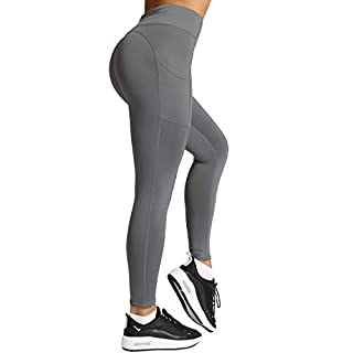 Meetjoy High Waisted Yoga Pants with Pockets for Women - Tummy Control Workout Leggings Grey