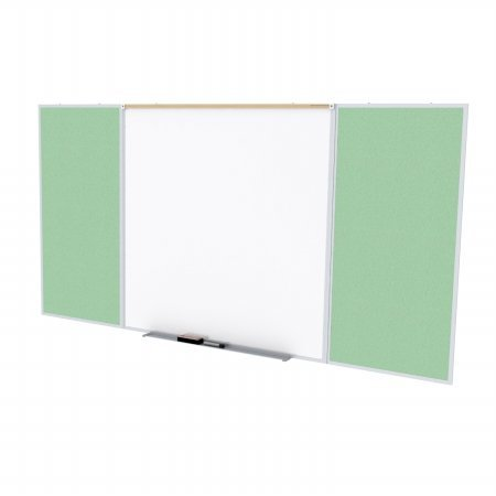 Ghent SPC416D-V-189 4 ft. x 16 ft. Style D Combination Unit - Porcelain Magnetic Whiteboard and Vinyl Fabric Tackboard - Mint