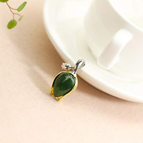 Mayanyan S925 Sterling Silver Fashion Tulip Jasper Pendant Natural Jade Necklace Ladies Gift